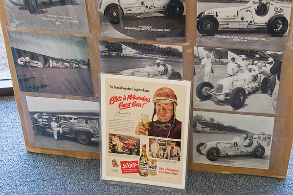 05/15/19 Wesley Bunnell | Staff Photos and an advertisement for an early 1940's custom built race car named the Marchese Special sits inside of The Paddock Classic Car Resorations at 285 Columbus Boulevard on Wednesday afternoon. The car competed in the Indianapolis 500 until 1951 and was featured in advertisements as well.