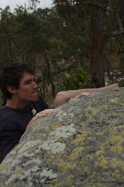 Tobby attempting the mantle. The Good Shorts (V2). Photo by Trent Williams