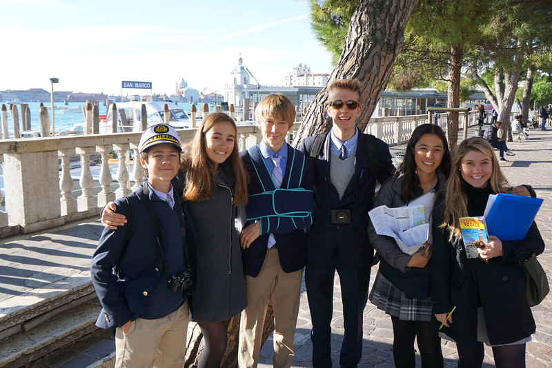 Hunter, Phaedra, Bennitt, Dylan, Mia, and MT just outside of Piazza San Marco