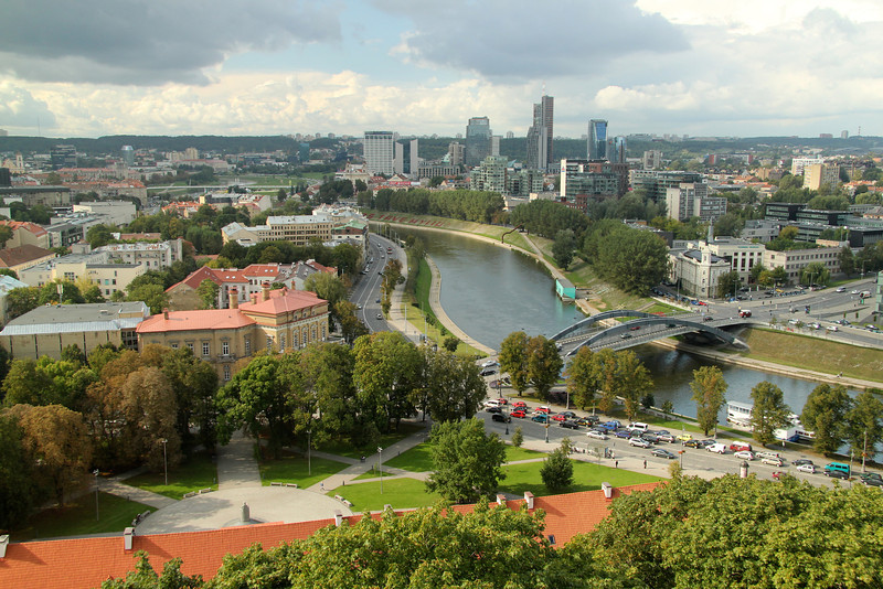 The Neris River, separating the Old Town (on left) and New Town -Vilnius, Lithuania