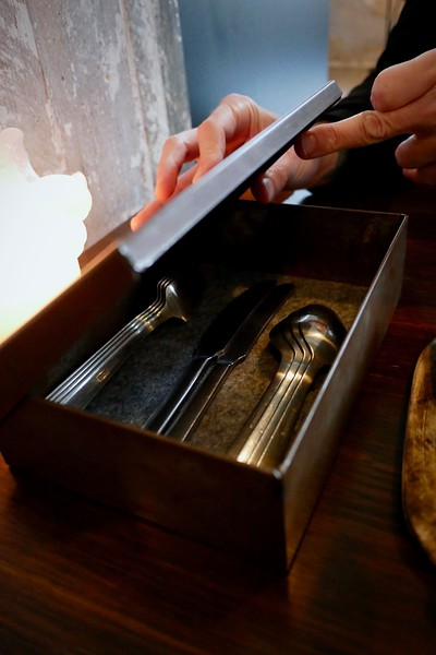 Flatware box on the table at Amass
