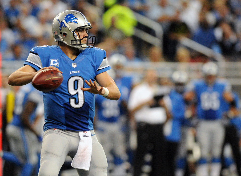 . Lions quarterback Matthew Stafford passes the football in the third quarter against the Vikings.  (Pioneer Press: Chris Polydoroff)
