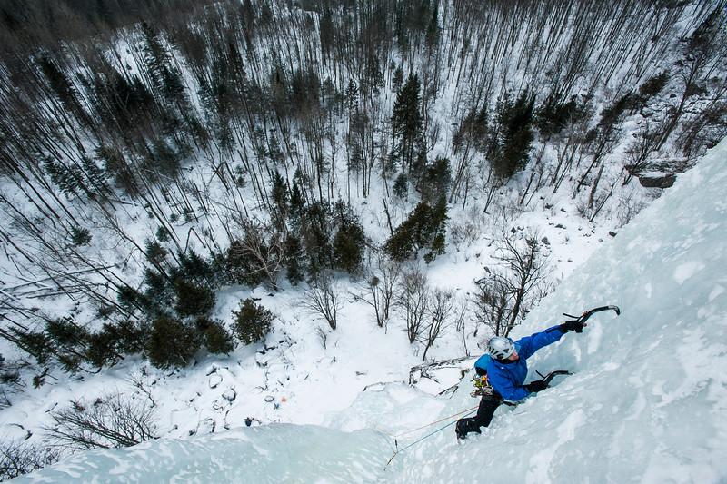 Patrick Lecler climbing Les Gros Bras, WI 5, Weir Quebec, Canada.