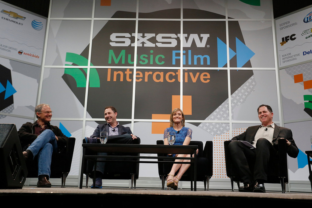 . Down the street from the University of Texas dorm room where Dell got its start, founder Michael Dell, right, swaps startup stories and advice for fellow entrepreneurs with TripAdvisor founder Stephen Kaufer, Shutterfly CEO Jeffrey Housenbold and The Knot (XO Group) co-founder Carley Roney, from left, at the SXSW Interactive Conference in Austin, Texas on Friday, March 7, 2014. (Jack Plunkett/AP Images for Dell, Inc.)