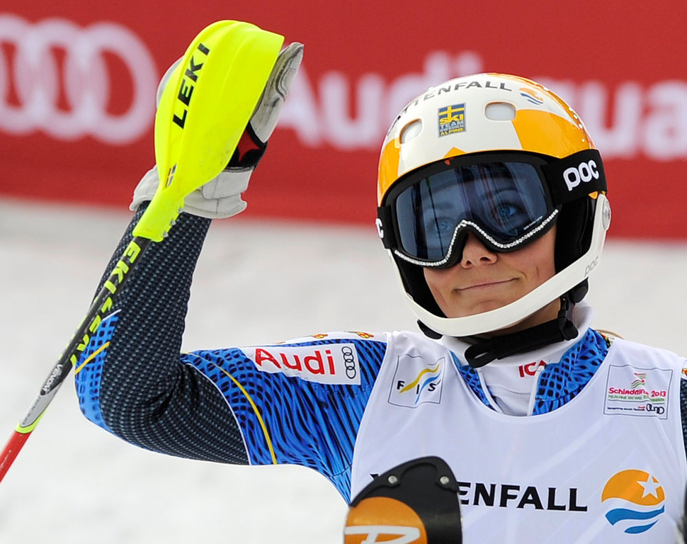 . Sweden\'s Frida Hansdotter reacts after she completes the second run of the women\'s slalom at the 2013 Ski World Championships in Schladming, Austria on February 16, 2013. SAMUEL KUBANI/AFP/Getty Images