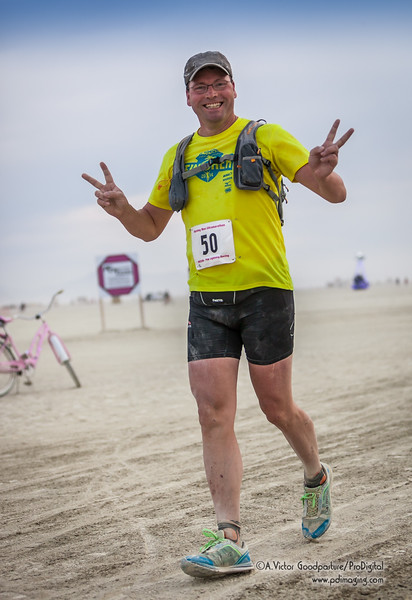 """A Burner who opted for the """"runner's"""" costume for the 50K Ultramarathon."""