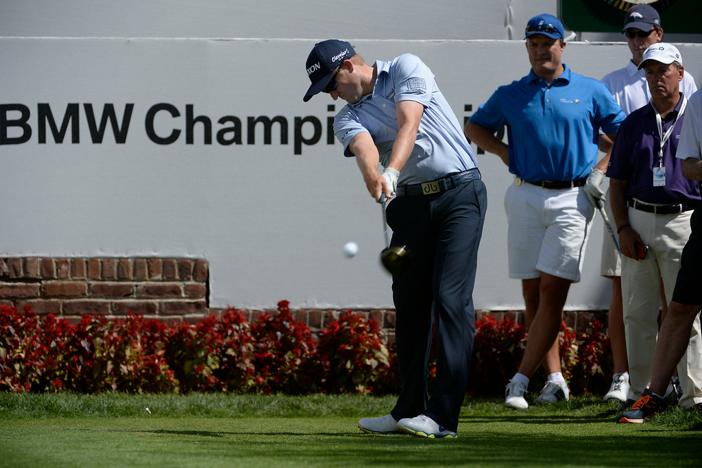 . CHERRY HILLS VILLAGE, CO. - SEPTEMBER 03:  Russell Knox hits his tee shot at the #1 tee box during the  FedExCup BMW Championship Pro-Am at the Cherry Hills Country Club Wednesday, September 03, 2014. (Photo By Andy Cross / The Denver Post)