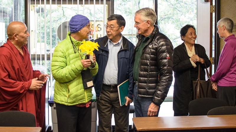 Tenzin Choegyal with Khen Rinpoche,  Ruth & Bob Hayward, 24 March