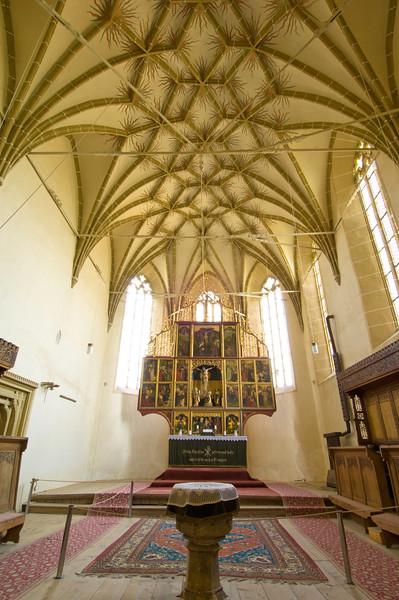 Interior of a citadel church, Biertan, Transylvania, Romania