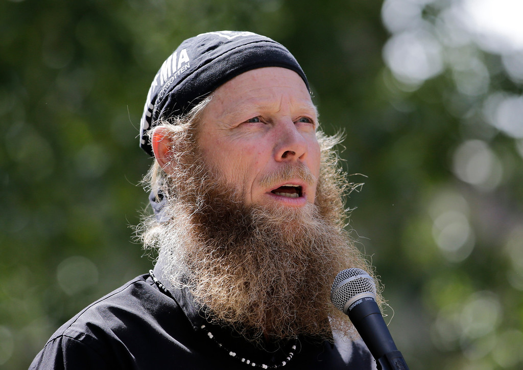 """. Bob Bergdahl, father of captive U.S. Army Sgt. Bowe Bergdahl, speaks at the \""""Bring Bowe Back\"""" celebration held to honor Sgt. Bergdahl in Hailey, Idaho, Saturday, June 22, 2013. Hundreds of activists for missing service members gathered in a small Idaho town Saturday to hear the parents of the only known U.S. prisoner of war speak just days after his Taliban captors announced they want to exchange him for prisoners being held at Guantanamo Bay. (AP Photo/Jae C. Hong)"""