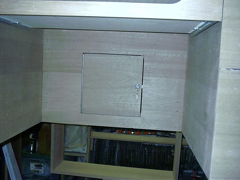 Hidden storage door.