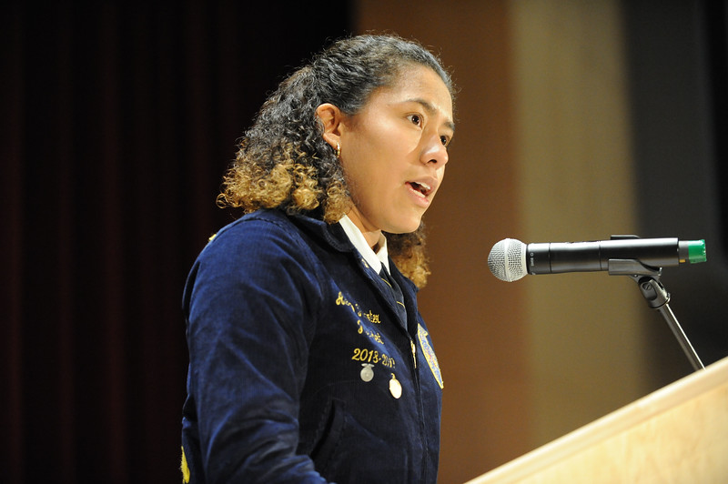 Phillipsburg High School Senior and member of the Future Farmers of America, Alexis Perminter reads the Veterans Rose. Phillipsburg area veterans Sunday, Nov. 11, 2018  were honored during the 21st annual William L. Nixon tribute. Hundreds attended the event at Phillipsburg High School in Lopatcong Township, in which the U.S. Department of Veterans Affairs has honored as a regional site for the observance of the commemoration.