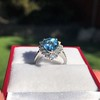 3.30ctw Aquamarine and Diamond Cluster Ring 16