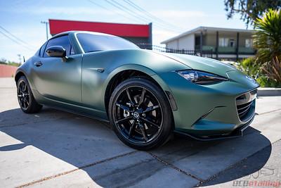 2021 Mazda Miata RF - Vinyl Wrap in Matte Pine Green Metallic