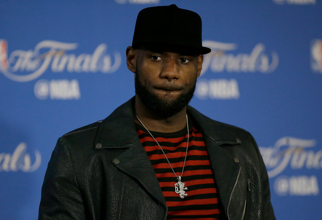 . Cleveland Cavaliers forward LeBron James speaks at a news conference after Game 5 of basketball\'s NBA Finals between the Golden State Warriors and the Cavaliers in Oakland, Calif., Monday, June 12, 2017. The Warriors won 129-120 to win the NBA championship. (AP Photo/Ben Margot)
