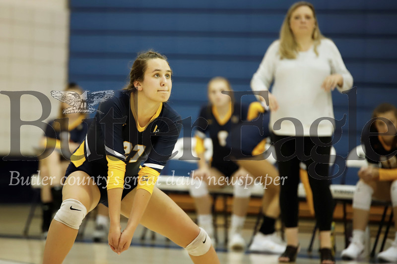 Mars Beth Long sets up for a bump in Monday's 3-1 loss at Butler. Seb Foltz/Butler Eagle