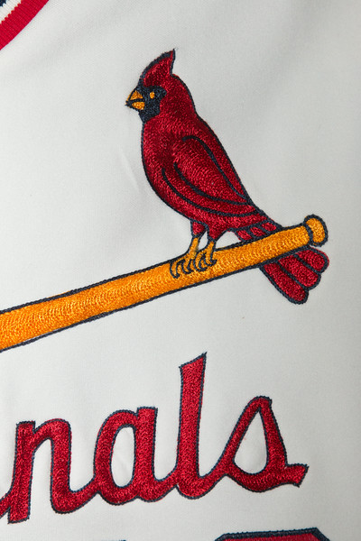 Detail of bird-on-bat Cardinals jersey -- A trip to the Baseball Hall of Fame, Cooperstown, NY, June 2014