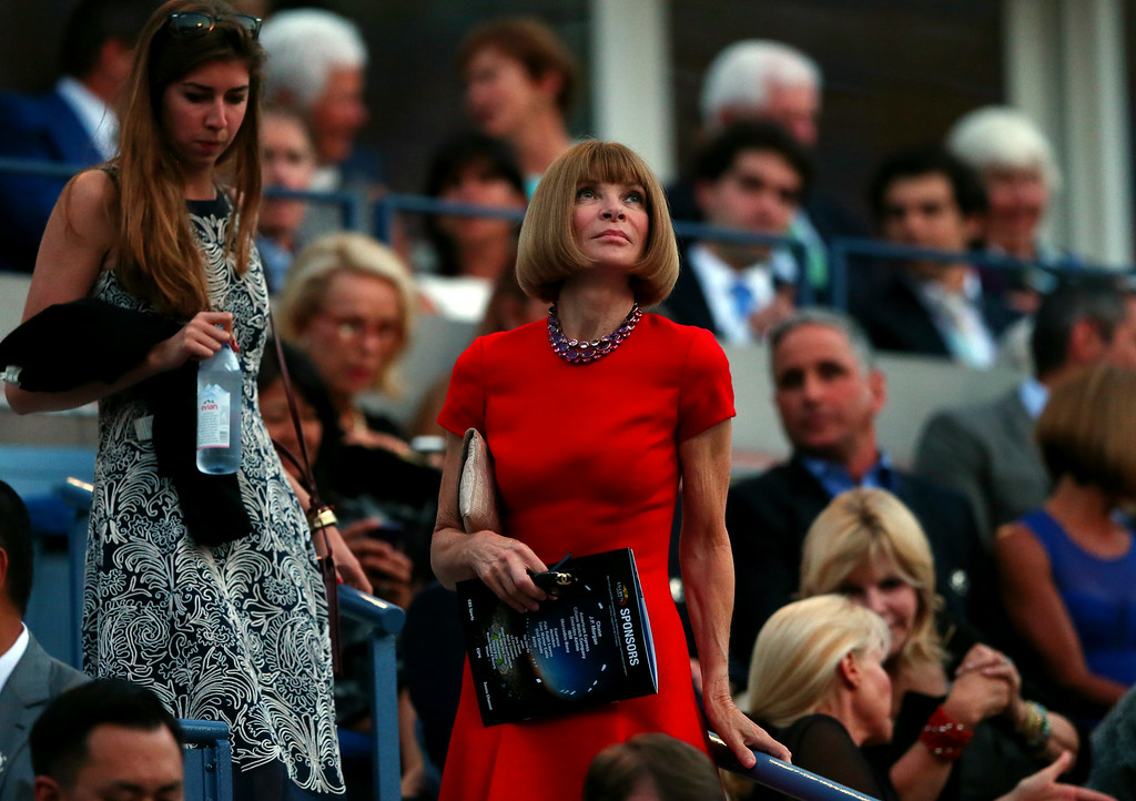 . NEW YORK, NY - AUGUST 25:  Editor of Vogue Anna Wintour (R) and her daughter Bee Shaffer attend Day One of the 2014 US Open at the USTA Billie Jean King National Tennis Center on August 25, 2014  in the Flushing neighborhood of the Queens borough of New York City.  (Photo by Elsa/Getty Images)