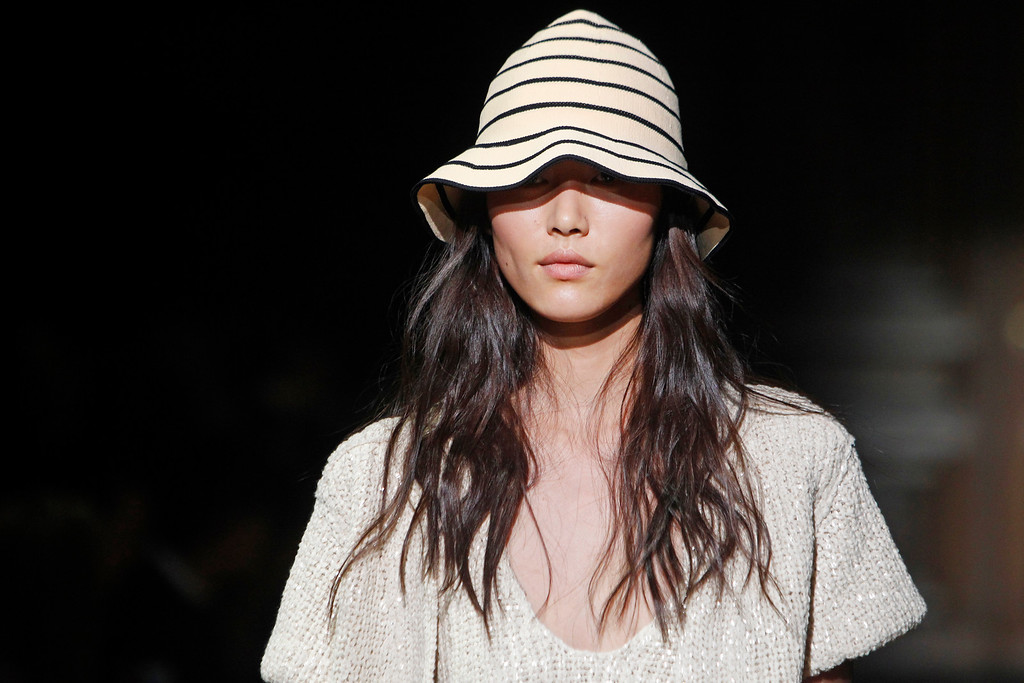 . A model presents a creation as part of Sonia Rykiel\'s ready-to-wear Spring/Summer 2014 fashion collection, presented Friday, Sept. 27, 2013 in Paris. (AP Photo/Thibault Camus)
