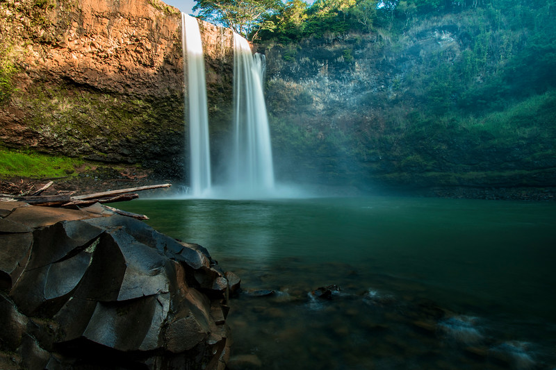 The base of Wailua Falls before sunrise, Kauai, Hawaii