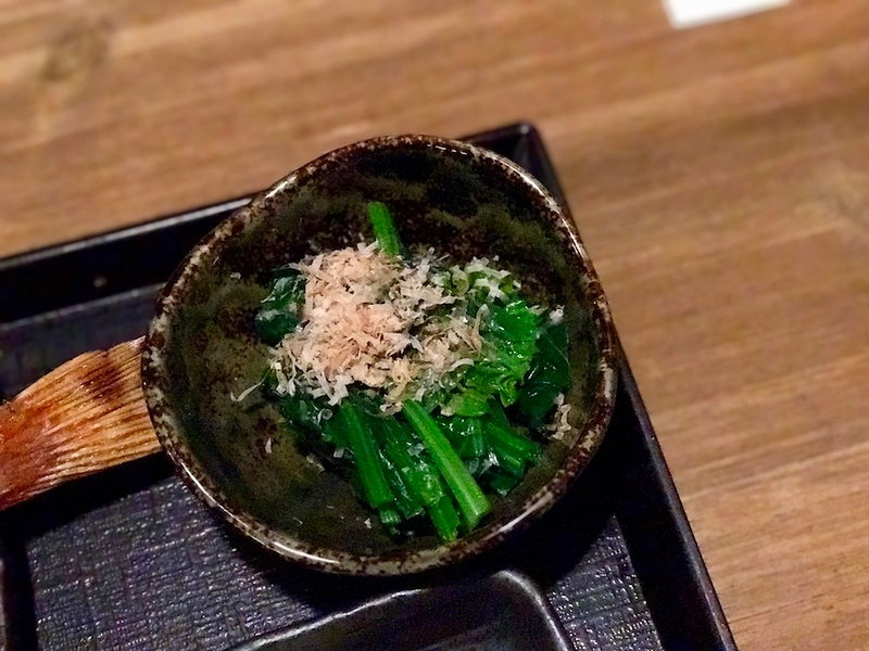 Blanched spinach with a little katsuobushi (dried bonito flakes) on top.