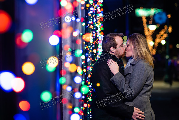 Julie and Adam are Engaged Christmas Lights