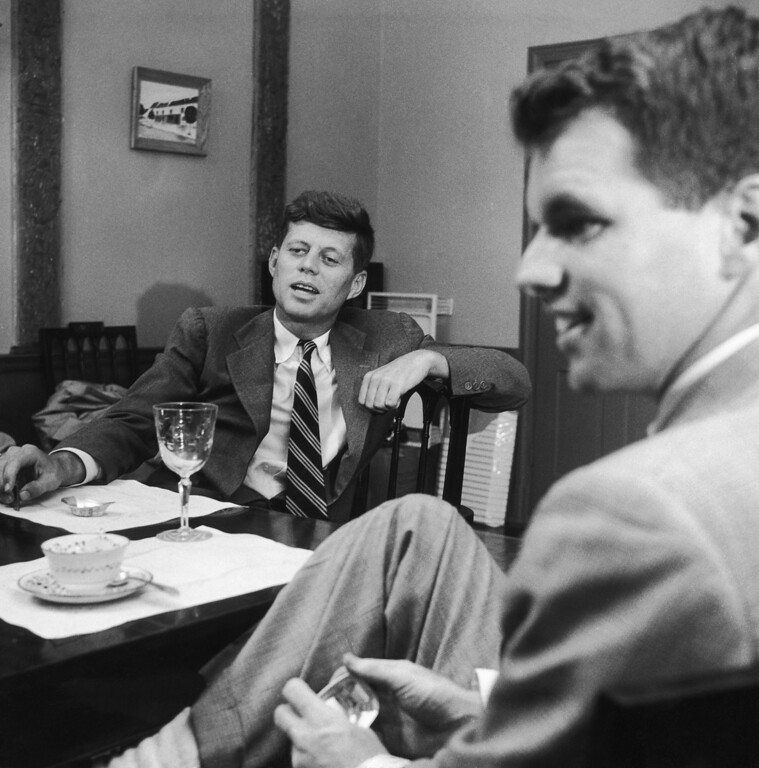 . Sen. Kennedy sits at his home in Georgetown, Mass., with Robert.  Three Lions/Hulton Archive/Getty Images