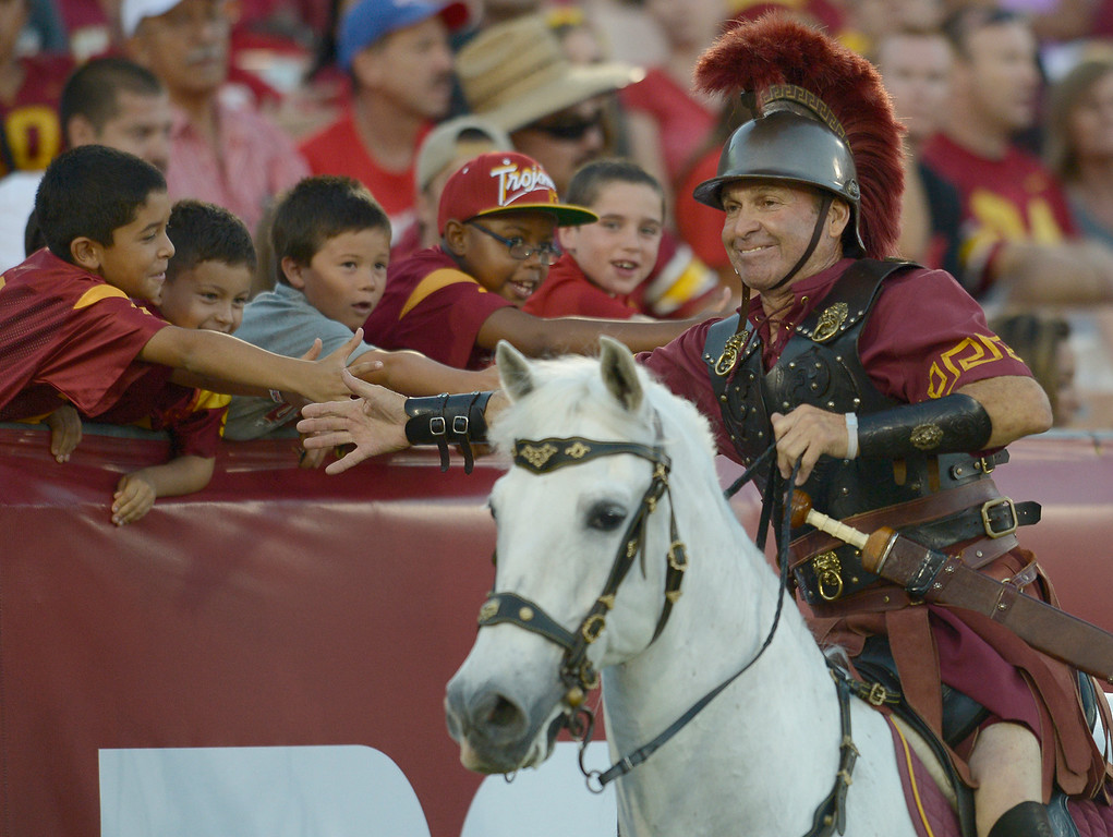 . Traveler had plenty of trips around the field after each USC score. USC defeated Fresno State 52-13 at the Los Angeles Memorial Coliseum. Los Angeles, CA. 8/30/2014(Photo by John McCoy Daily News