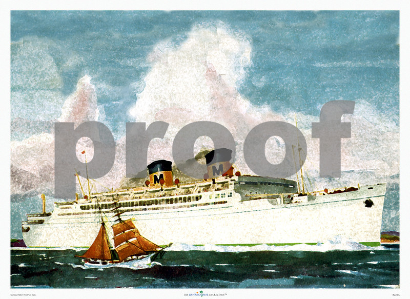 223: ss. Lurline, or ss. Matsonia Ocean Navigation Company Brochure Illustration. Ca. 1950. (PROOF watermark will not appear on your print)
