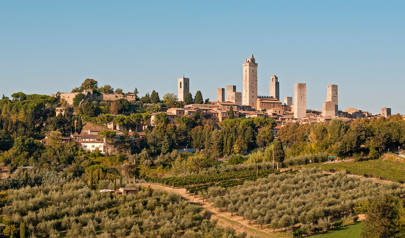 View of Towers of Medieval Hill Town of San Gimignano, Tuscany (Toscana), Italy