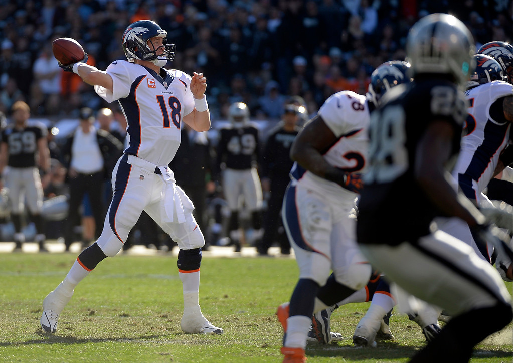 . Denver Broncos quarterback Peyton Manning (18) throws a pass down field against the Oakland Raiders during the first quarter at O.co Coliseum. (Photo by John Leyba/The Denver Post)