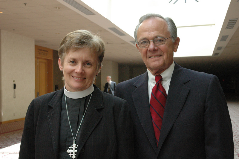 Bp. Margaret Payne and the Rev. Dr. James Childs answered questions at the hearings on the recommendations from ELCA Studies on Sexuality. The assembly will vote on the recommendations later this week.