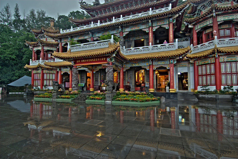 Facade of Zhinan Temple on a rainy day - Taipei, Taiwan