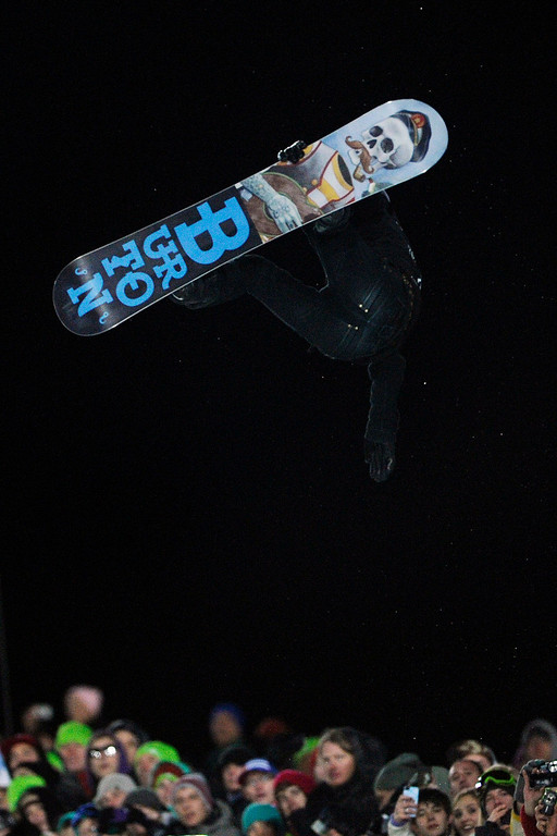 . ASPEN, CO - JANUARY 27: Shaun White soars above the crowd during the men\'s snowboard superpipe final. X Games Aspen Buttermilk Mountain Aspen January 27, 2013. (Photo By Daniel Petty/The Denver Post)