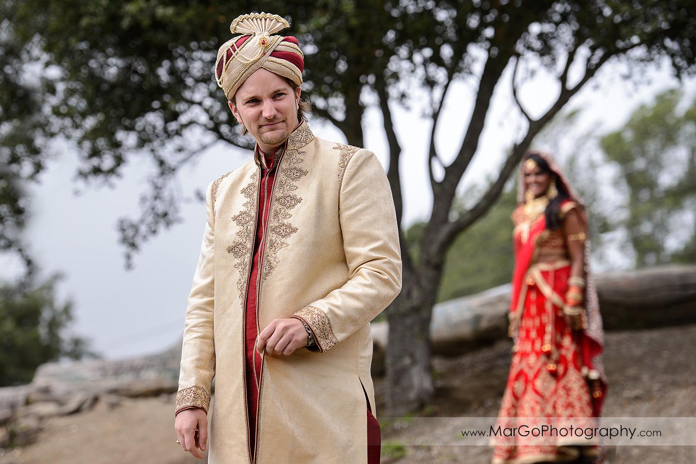 first look before Indian wedding at Tilden Regional Park, Berkeley