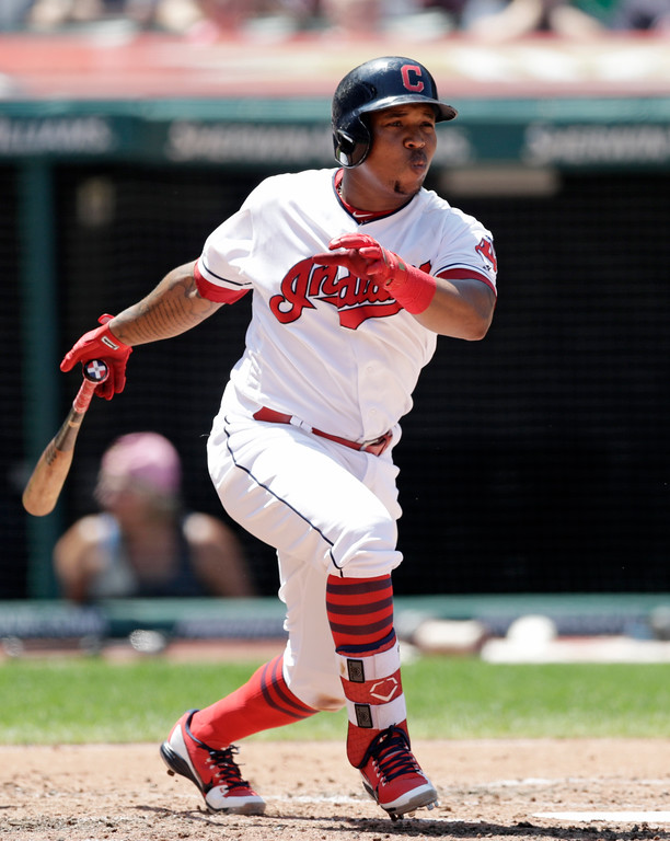 . Cleveland Indians\' Jose Ramirez grounds into a fielders choice in the third inning of a baseball game against the Pittsburgh Pirates, Wednesday, July 25, 2018, in Cleveland. Ramirez was safe at first base. (AP Photo/Tony Dejak)