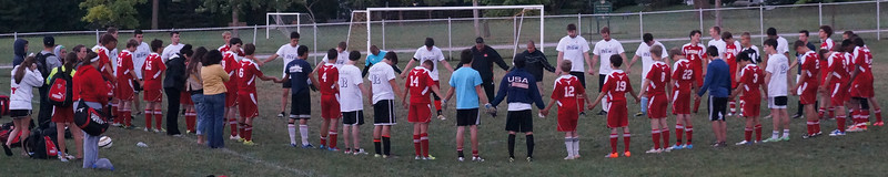 Prayer after 10th Annual Lutheran West Alumni Soccer Game