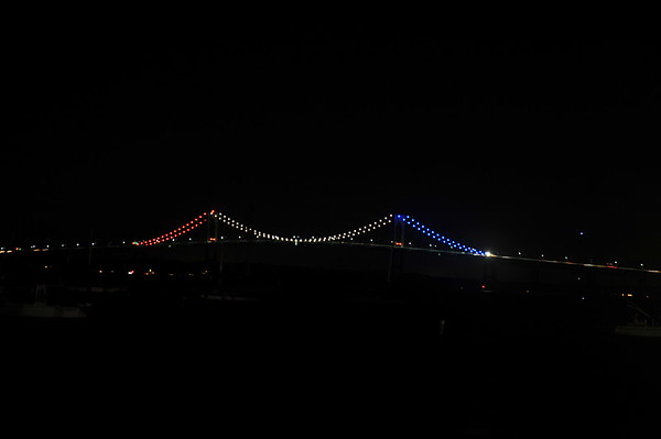 Newport Pell Bridge in Red, White & Blue