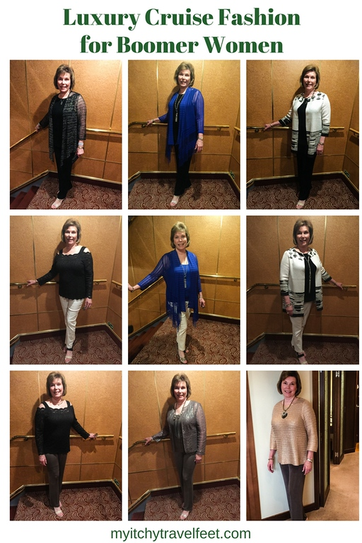 Text: Luxury Cruise Fashion for Boomer Women. Photo: 9 photo college of boomer fashion choices for a cruise.