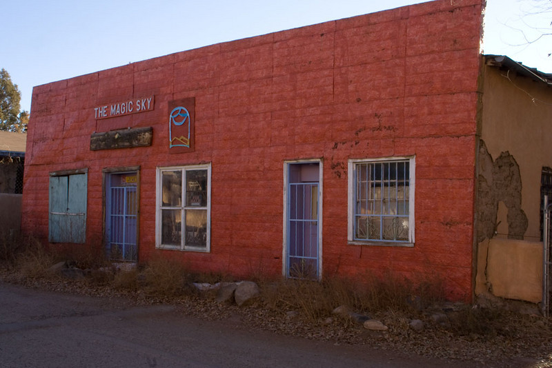 This old adobe building has a pressed tin facade.