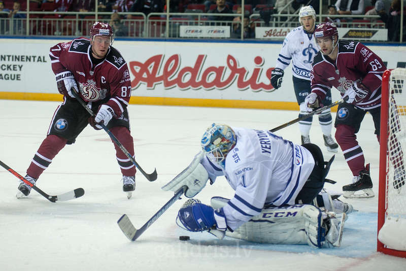 Goal keeper of Dynamo Moscow Alexander Yeryomenko (1) saves the goal in the KHL regular championship game between Dinamo Riga and Dynamo Moscow, played on October 3, 2016 in Arena Riga