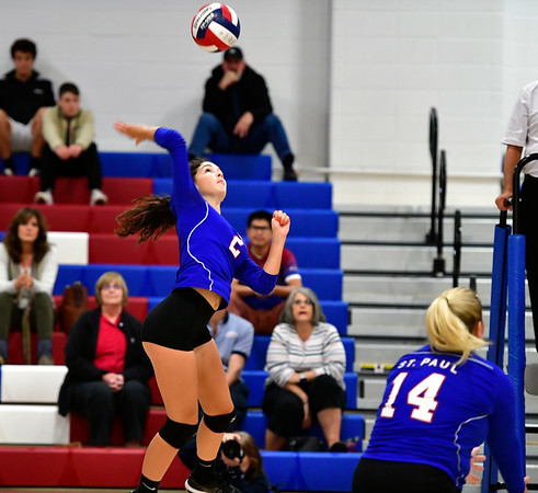 10/11/2019 Mike Orazzi | StaffrSt. Paul's Greta Panke (2) during Thursday night's girls volleyball with Torrington in Bristol.