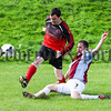 Philip Magowan Photography - Northern Ireland - 17th September 2016<br /> <br /> Carnbane League fixture, Ballybot United v Villa Rovers.<br /> <br /> Pictured: Ballybot's Chris Tierney skips a challenge from Villa's Noel McPolin.<br /> <br /> Picture: Philip Magowan