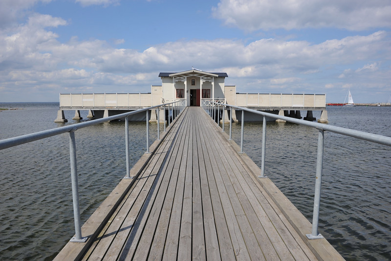 In the island of Öland, Sweden, in the Baltic sea.   Kallbadhuset. Winter bathers do it here!