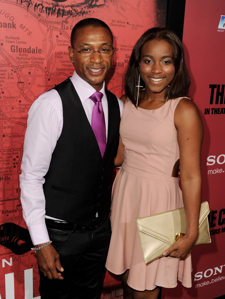 """. Actor Tommy Davidson (L) and his daughter Jillian Davidson arrive at the premiere of Tri Star Pictures\' \""""The Call\"""" at the Arclight Theatre on March 5, 2013 in Los Angeles, California.  (Photo by Kevin Winter/Getty Images)"""