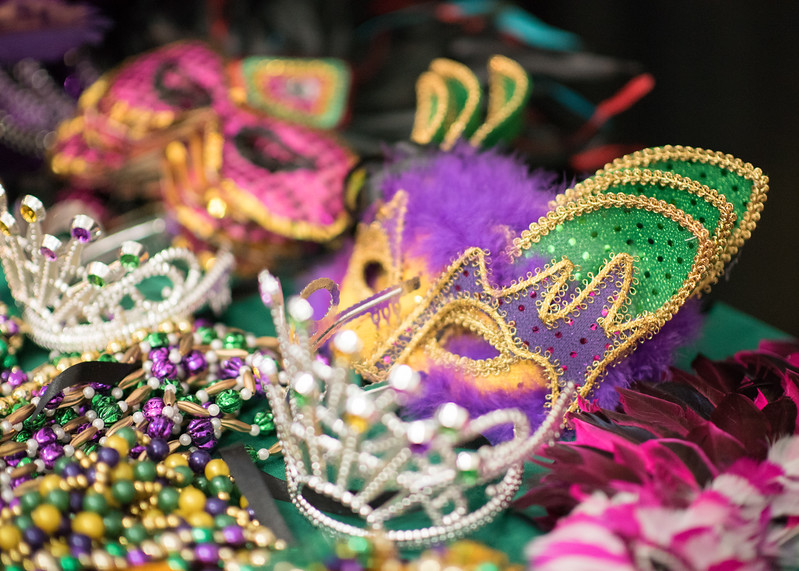 Mardi Gras masks available for guests during President's Ball on March 3rd, 2018 at Texas A&M University - Corpus Christi.