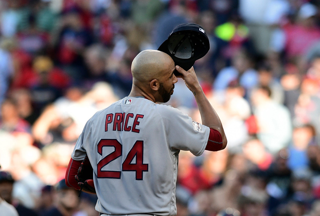 . Boston Red Sox pitcher David Price reacts after allowing a Cleveland Indians\' Lonnie Chisenhall three-run home run in the second inning during Game 2 of baseball\'s American League Division Series, Friday, Oct. 7, 2016, in Cleveland. (AP Photo/David Dermer)