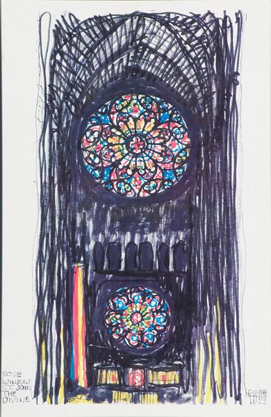 Rose Windows, St. John the Divine, N.Y.<br /> by Tom W.Shefelman<br /> Color Markers on Foam Board