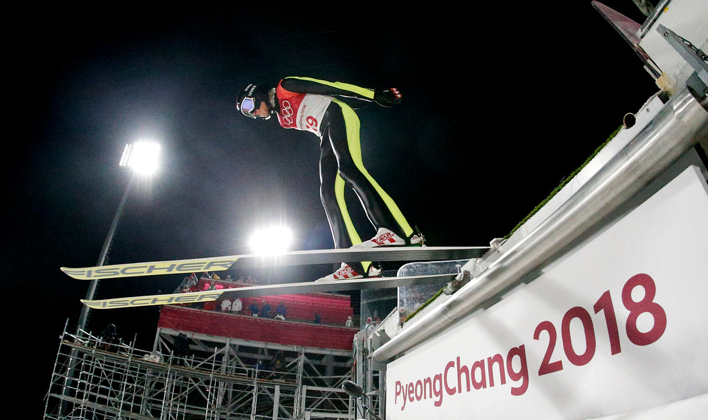 . Daniela Iraschko-Stolz, of Austria, takes off during the women\'s normal hill individual ski jumping competition at the 2018 Winter Olympics in Pyeongchang, South Korea, Monday, Feb. 12, 2018. (AP Photo/Dmitri Lovetsky)