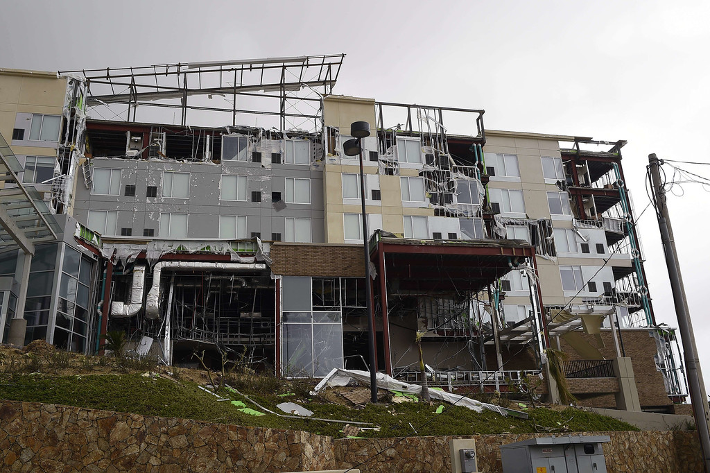 . View of a damaged hotel in San Jose del Cabo, on September 15, 2014 after hurricane Odile knocked down trees and power lines in Mexico\'s Baja California peninsula. AFP PHOTO/RONALDO SCHEMIDT/AFP/Getty Images